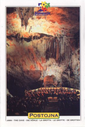 This is a postcard of the Postojna caves that are south of Ljublijana.