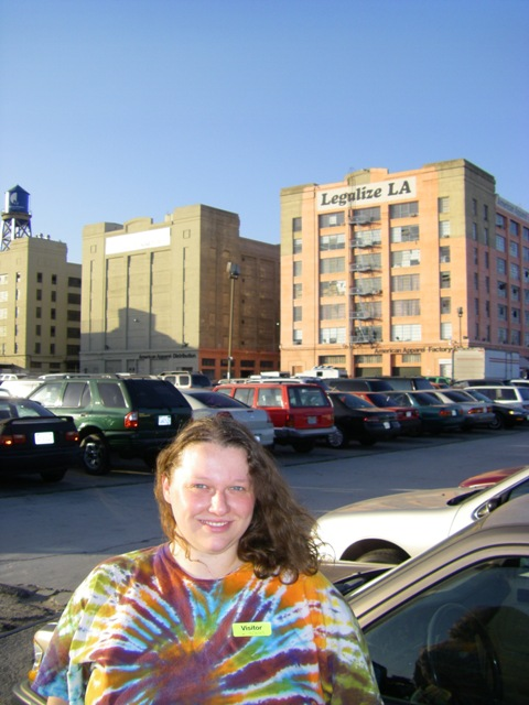Amanda in front of the American Apparel factory in downtown LA.