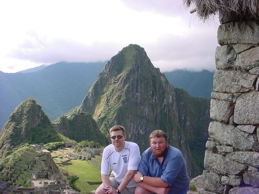 Erik and Thomas visiting Machu Pichu, Peru, in June 2002.