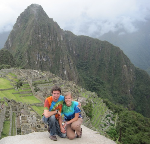 Bryce and Emily wear thier Made By Hippies Tie Dyes while visiting Machu Pichu, Peru, in Jan. 2011.