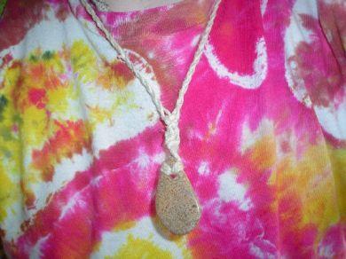 Hemp & Stone Necklace (Teardrop).