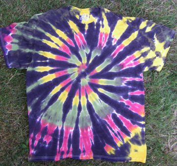 19) Take the tie dye t-shirt out of the dryer and put it on.