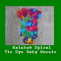 Rainbow Spiral Tie Dye Baby Onesie.