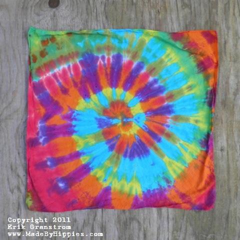 Rainbow Spiral Tie Dye Bandanna.