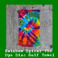 Rainbow Spiral Tie Dye Disc Golf Towel.