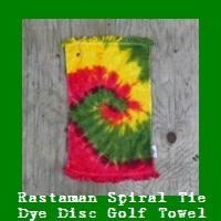 Rastaman Spiral Tie Dye Disc Golf Towel.