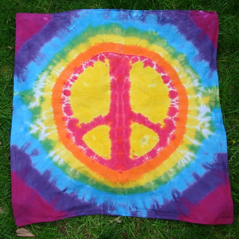 Rainbow Peace Sign Tie Dye Tapestry (36 X 36)