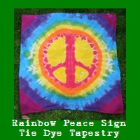 Rainbow Rainbow Peace Sign Tapestry 36 x 36.