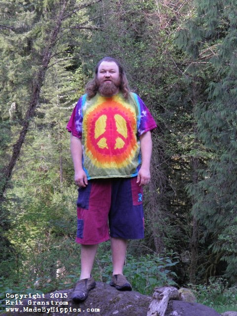 Rainbow Peace Sign Tie Dye T-Shirt.