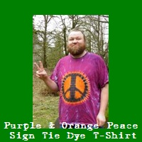 Purple and Orange Peace Sign Tie Dye T-Shirt.