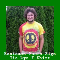 Rastaman Peace Sign Tie Dye T-Shirt.
