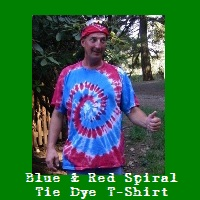 Blue and Red Spiral Tie Dye T-Shirt.