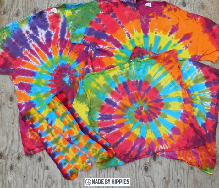 Rainbow Spiral Tie Dye T-Shirt Combo Pack.