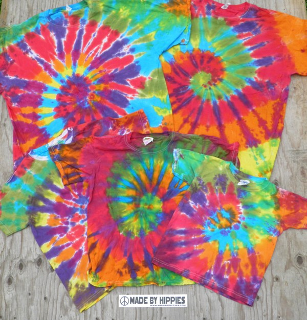 Rainbow Spiral Tie Dye T-Shirt Family Pack.